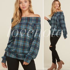 Off the Shoulder Sweater Plaid Relaxed Fit Blouse